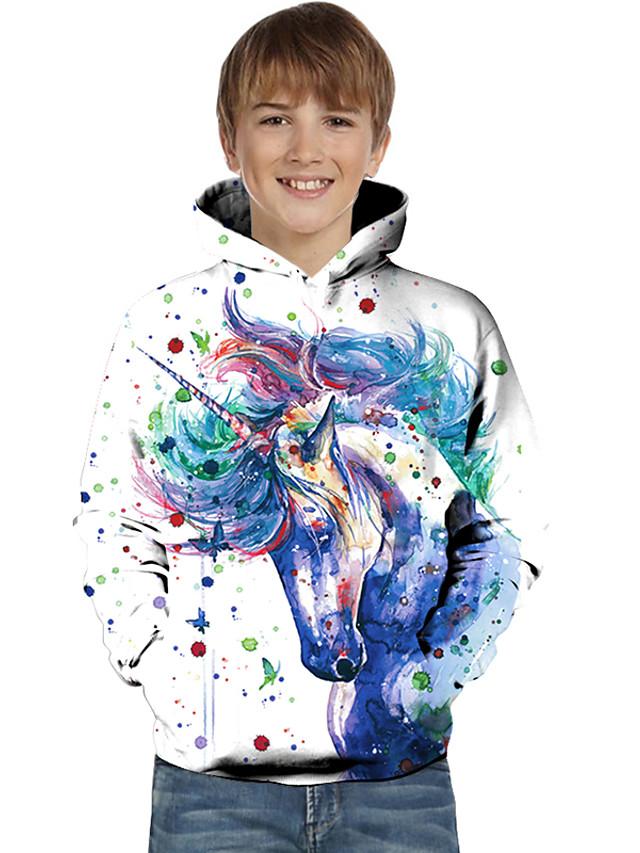 Kids Toddler Boys' Active Basic Unicorn Geometric Color Block Tie Dye Print Long Sleeve Hoodie & Sweatshirt White
