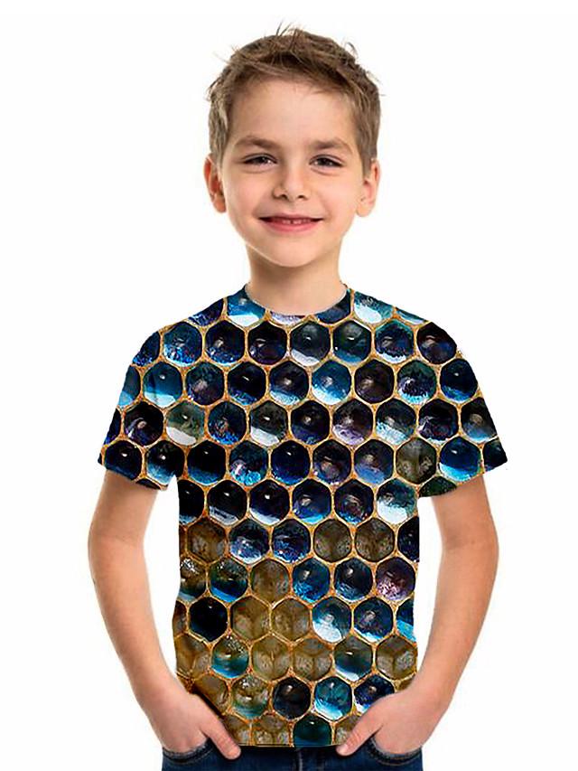 Kids Boys' Sports & Outdoors Basic Holiday 3D Short Sleeve Tee Rainbow