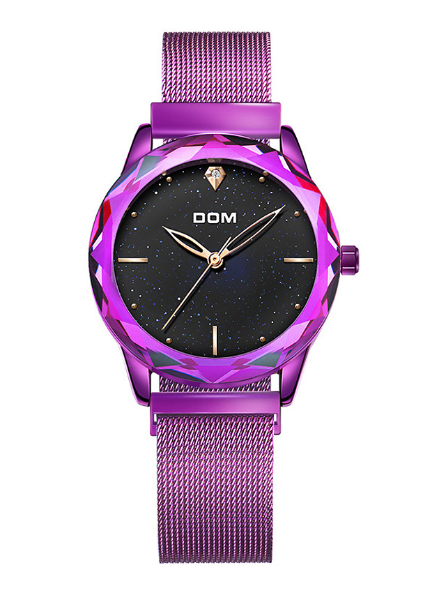 DOM Women's Steel Band Watches Quartz Modern Style Stylish Luxury Water Resistant / Waterproof Analog Purple Gold / Stainless Steel / Stainless Steel / Japanese / Japanese