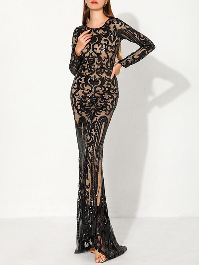 Mermaid / Trumpet Color Block Elegant Wedding Guest Formal Evening Dress Jewel Neck Long Sleeve Floor Length Spandex with Split 2020
