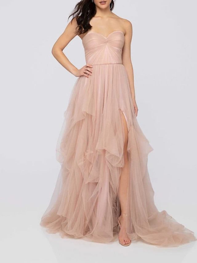 A-Line Luxurious Sexy Engagement Formal Evening Dress Strapless Sleeveless Sweep / Brush Train Tulle with Pleats Ruched Split 2020