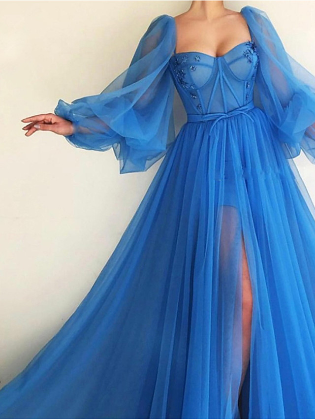 A-Line Elegant Luxurious Engagement Formal Evening Dress Scoop Neck Long Sleeve Sweep / Brush Train Tulle with Pleats Split 2020