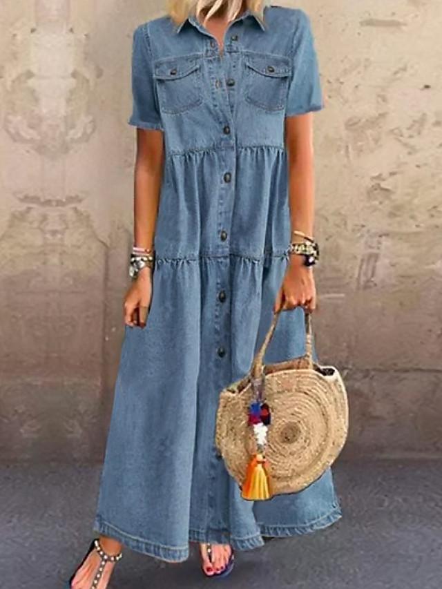 Women's Denim Shirt Dress Maxi long Dress - Short Sleeve Summer Casual Vacation 100% Cotton 2020 Light Blue S M L XL XXL XXXL