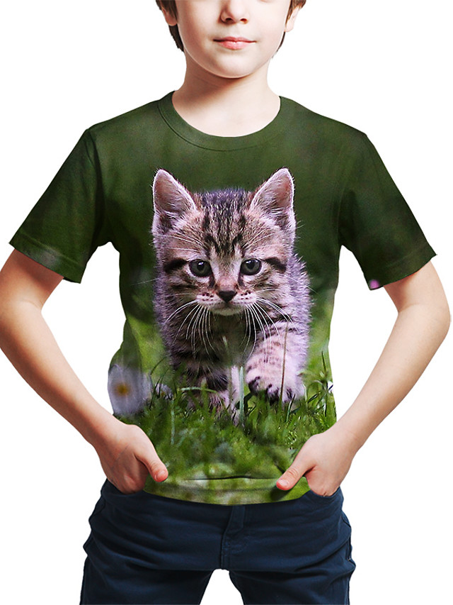Kids Toddler Boys' Active Street chic Cat 3D Animal Print Short Sleeve Tee Green