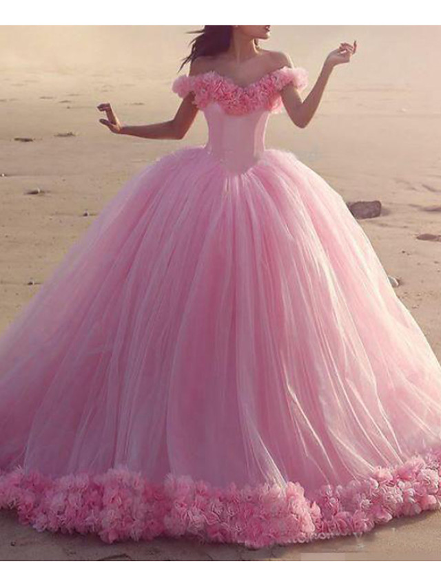 Ball Gown Elegant Luxurious Quinceanera Engagement Dress Off Shoulder Short Sleeve Court Train Tulle with Pleats 2020