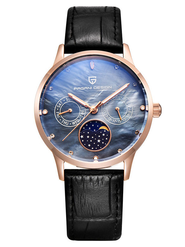 PAGANI Women's Quartz Watches Quartz Modern Style Stylish Casual Water Resistant / Waterproof Genuine Leather Analog - Golden+Black Blushing Pink Silver+Blue / Stainless Steel / Calendar / date / day