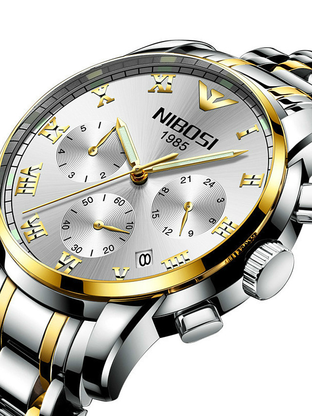NIBOSI Men's Steel Band Watches Quartz Sporty Casual Water Resistant / Waterproof Analog - Digital White+Blue Black+Gloden White+Golden / Stainless Steel / Calendar / date / day