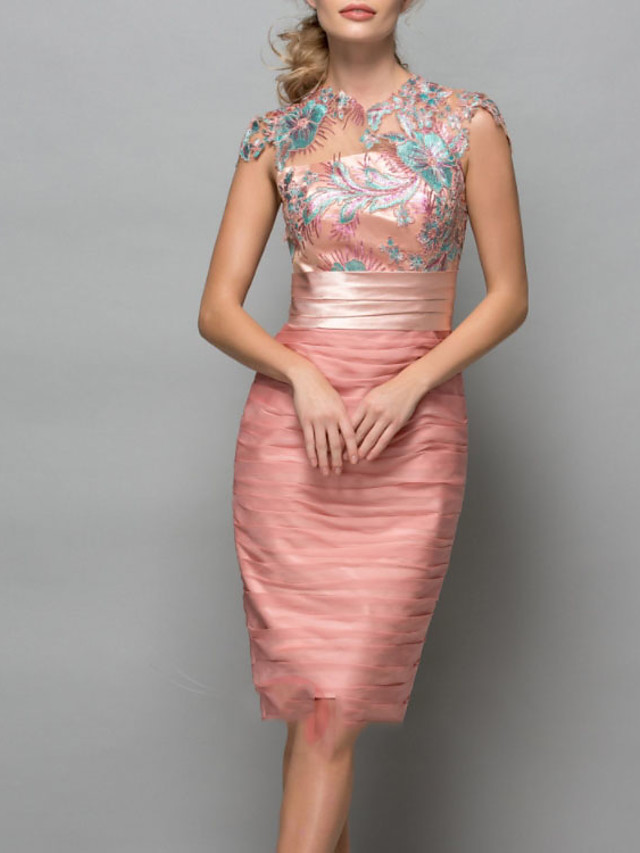 Sheath / Column Elegant Floral Wedding Guest Cocktail Party Dress Jewel Neck Short Sleeve Knee Length Chiffon with Beading Appliques 2020