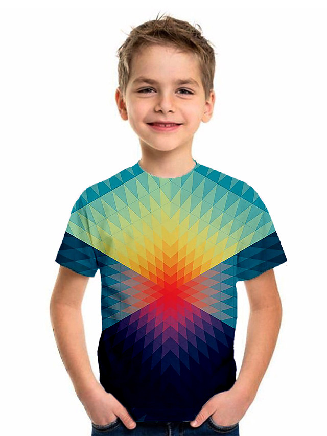 Kids Boys' Sports & Outdoors Basic Holiday Color Block Short Sleeve Tee Blue