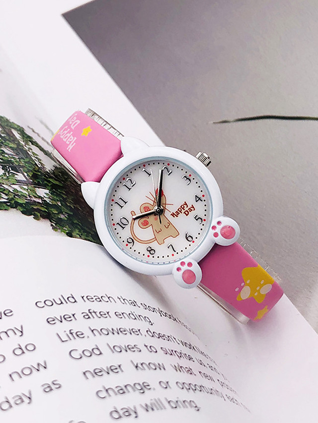 Kids Quartz Watches Quartz Modern Style Stylish Cartoon Chronograph PU Leather White / Blue / Pink Analog - White Blue Purple