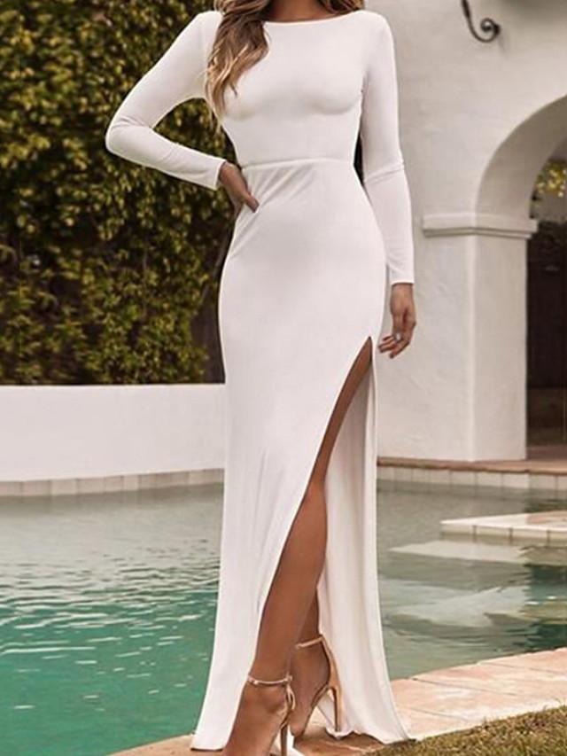 Sheath / Column Beautiful Back Sexy Engagement Formal Evening Dress Jewel Neck Long Sleeve Floor Length Spandex with Sleek Split 2020