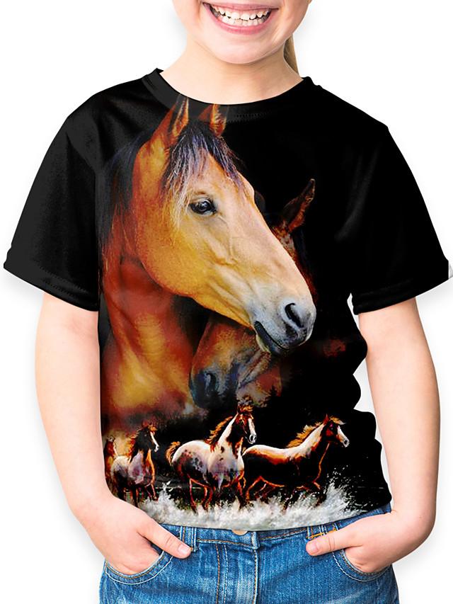 Kids Boys' Sports & Outdoors Basic Holiday Horse Animal Print Short Sleeve Tee Black
