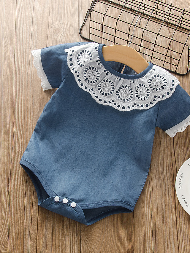 Baby Girls' Active Basic Solid Colored Mesh Print Sleeveless Bodysuit Blue