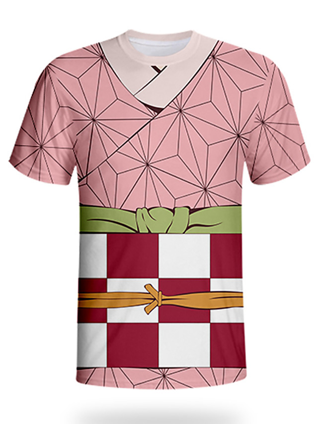 Kids Toddler Boys' Active Street chic Geometric 3D Print Short Sleeve Tee Blushing Pink