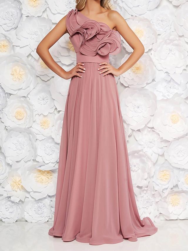 A-Line Elegant Luxurious Engagement Formal Evening Dress One Shoulder Sleeveless Sweep / Brush Train Chiffon with Pleats Ruffles 2020