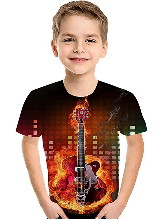 Kids Toddler Boys' Active Basic Rubik's Cube Geometric Color Block 3D Print Short Sleeve Tee Red
