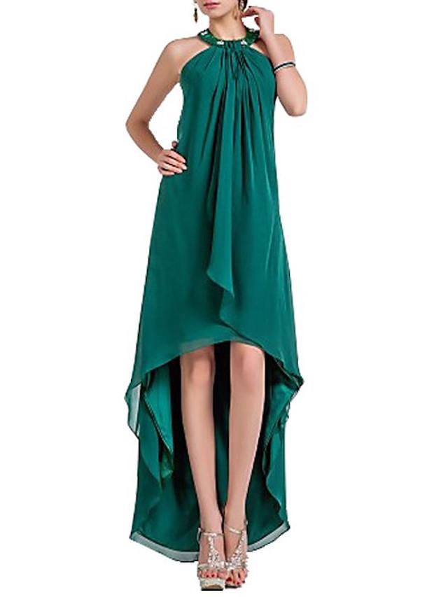 Sheath / Column Elegant Minimalist Wedding Guest Formal Evening Dress Halter Neck Sleeveless Asymmetrical Chiffon with Beading 2020