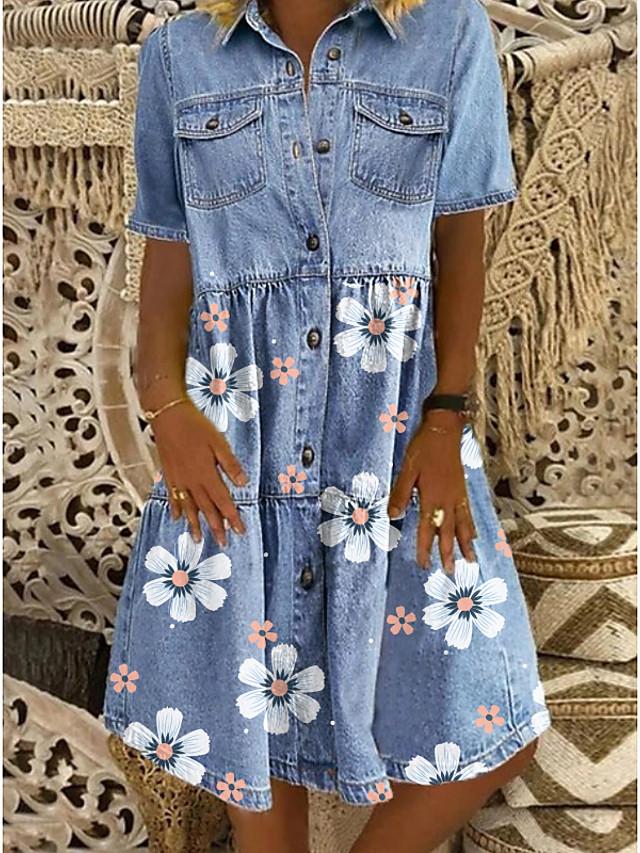 Women's Denim Shirt Dress Knee Length Dress Blue Short Sleeve Floral Pocket Button Front Summer Shirt Collar Hot Casual 2021 M L XL XXL 3XL