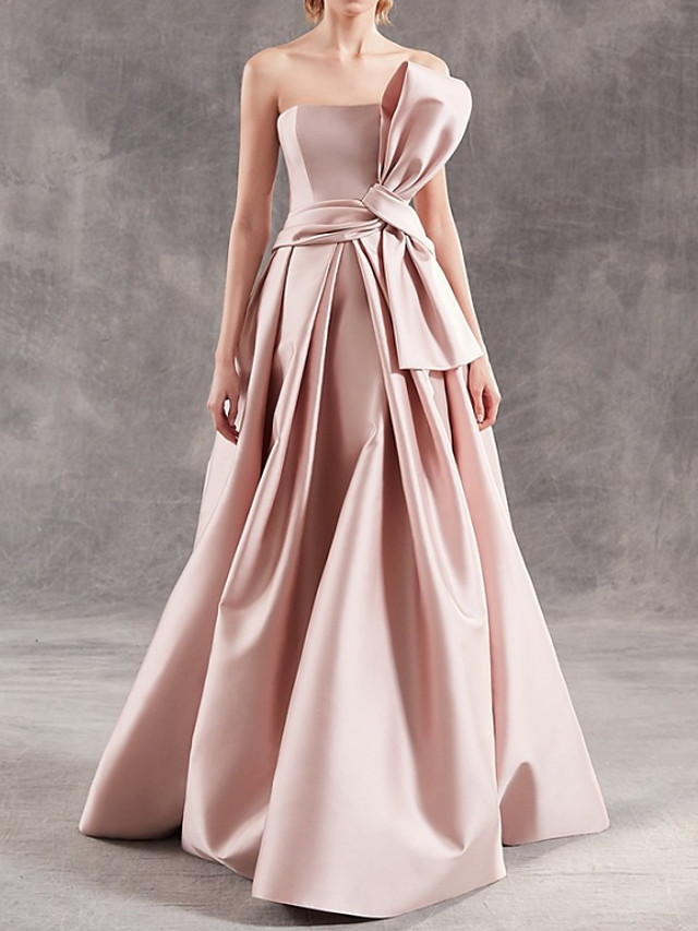 A-Line Elegant Minimalist Engagement Formal Evening Dress Strapless Sleeveless Floor Length Satin with Sash / Ribbon 2020