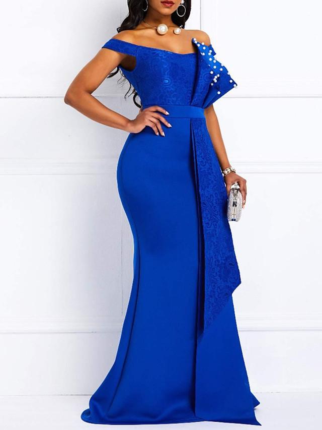 Mermaid / Trumpet Elegant Beautiful Back Engagement Formal Evening Dress Off Shoulder Short Sleeve Sweep / Brush Train Lace Satin with Sash / Ribbon Pearls 2020