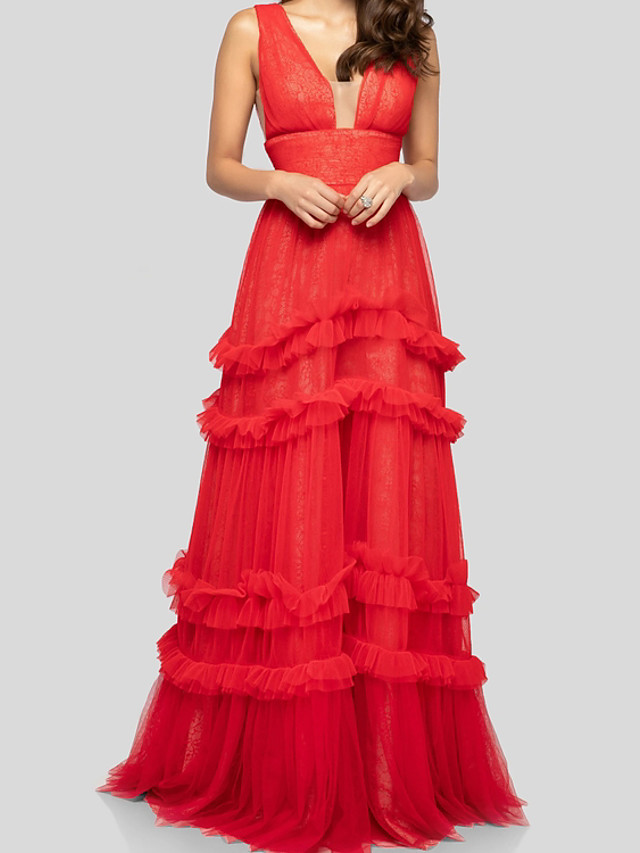 A-Line Elegant Beautiful Back Engagement Formal Evening Dress V Neck Sleeveless Floor Length Tulle with Ruffles 2020