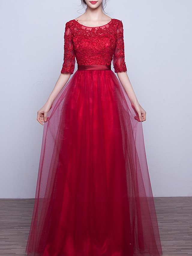 A-Line Elegant Cut Out Engagement Formal Evening Dress Jewel Neck Half Sleeve Floor Length Lace Tulle with Appliques 2020