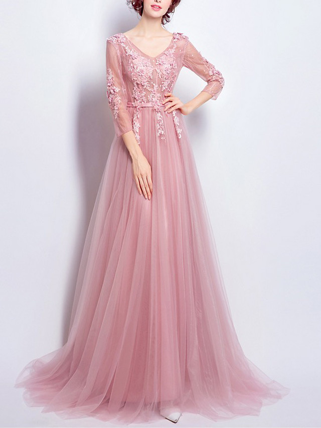 A-Line Elegant Floral Engagement Formal Evening Dress V Neck 3/4 Length Sleeve Sweep / Brush Train Lace Tulle with Appliques 2020