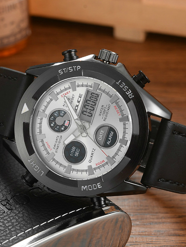 DIOUCE Men's Sport Watch Digital Sporty Casual Water Resistant / Waterproof Analog - Digital White Black Blue / Genuine Leather / Japanese / Calendar / date / day / Chronograph / Noctilucent
