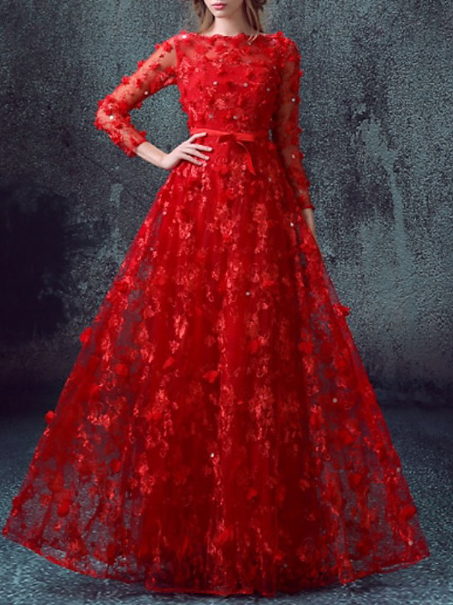 A-Line Elegant Glittering Engagement Formal Evening Dress Jewel Neck 3/4 Length Sleeve Floor Length Tulle with Sequin Appliques 2020