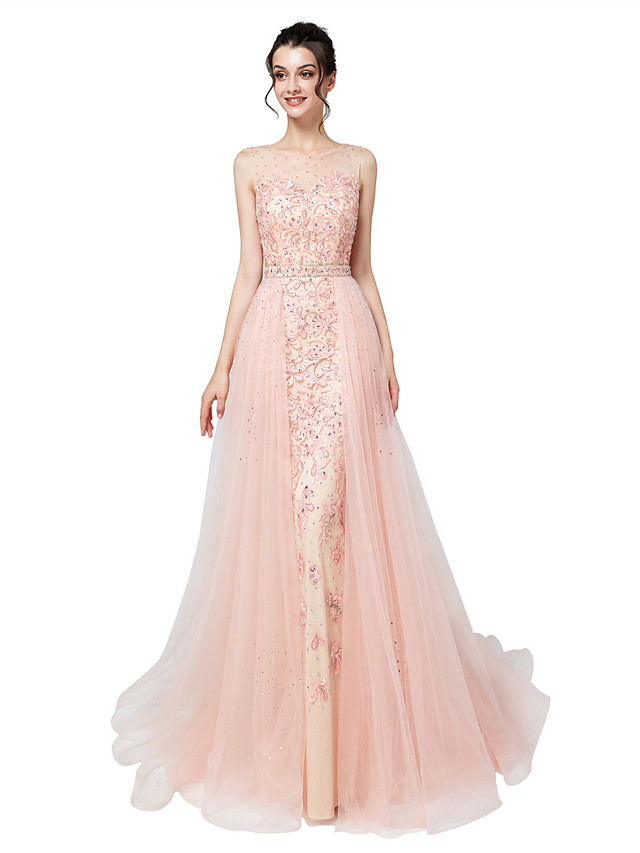 Mermaid / Trumpet Elegant Luxurious Engagement Formal Evening Dress Illusion Neck Sleeveless Court Train Tulle with Sash / Ribbon Crystals Appliques 2020