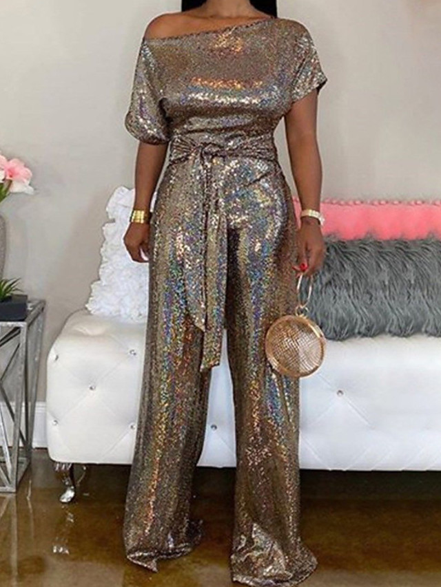 Jumpsuits Glittering Sexy Party Wear Prom Dress One Shoulder Short Sleeve Floor Length Satin Sequined with Sequin 2020