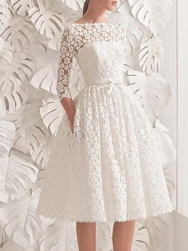 A-Line Wedding Dresses Jewel Neck Knee Length Lace 3/4 Length Sleeve Vintage 1950s with Sashes / Ribbons Appliques 2021