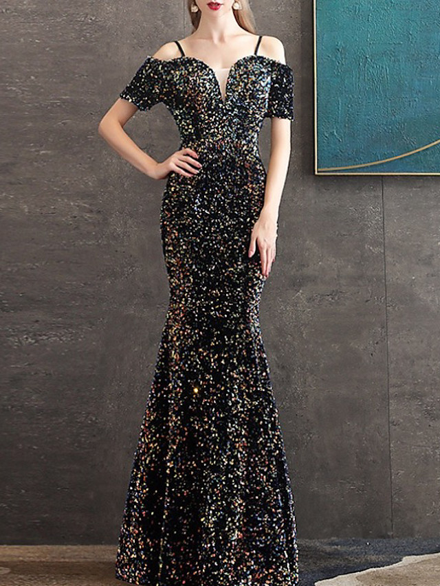Mermaid / Trumpet Elegant Sparkle Engagement Formal Evening Dress Spaghetti Strap Short Sleeve Floor Length Sequined with Sequin 2020