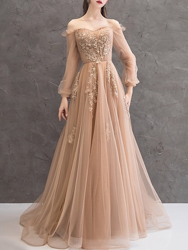 A-Line Elegant Floral Engagement Formal Evening Dress Off Shoulder Long Sleeve Court Train Lace Tulle with Appliques 2020