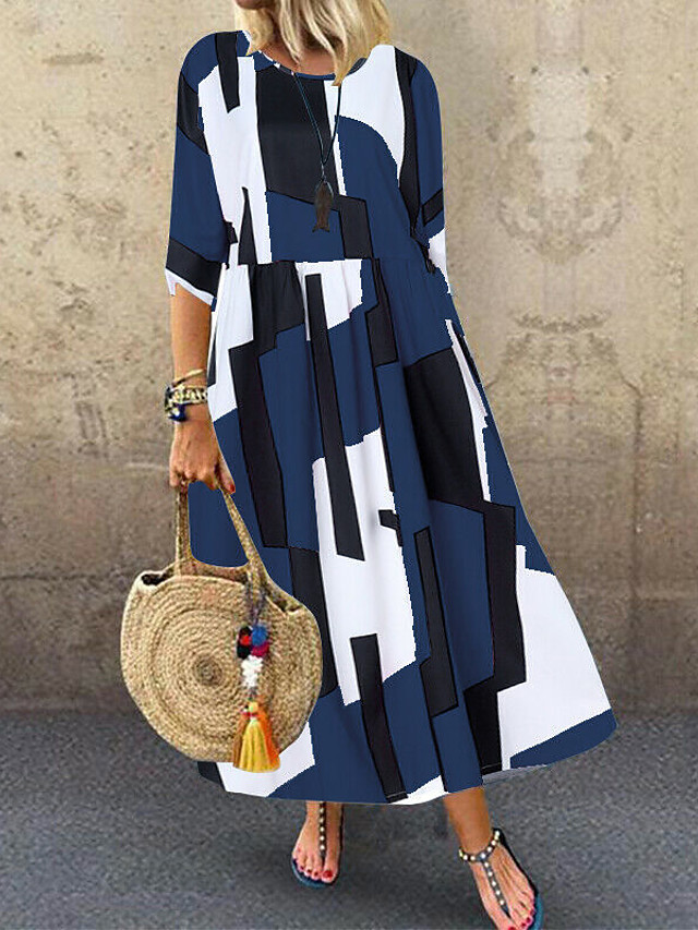 Women's Plus Size Midi Dress - 3/4 Length Sleeve Geometric Print Summer Casual Daily Loose Blue Blushing Pink Navy Blue M L XL XXL XXXL XXXXL XXXXXL
