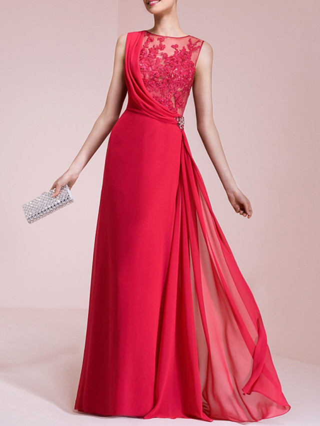 A-Line Elegant Floral Engagement Formal Evening Dress Illusion Neck Sleeveless Floor Length Chiffon with Appliques 2020