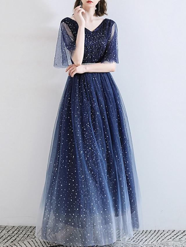 A-Line Elegant Sparkle Engagement Formal Evening Dress V Neck Half Sleeve Floor Length Lace with Sequin 2020