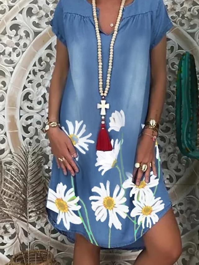 Γυναικεία Φόρεμα ριχτό Φόρεμα μέχρι το γόνατο - Κοντομάνικο Φλοράλ Στάμπα Καλοκαίρι Λαιμόκοψη V Καθημερινό Διακοπές 2020 Λευκό Μπλε Απαλό M L XL XXL 3XL / Ντένιμ