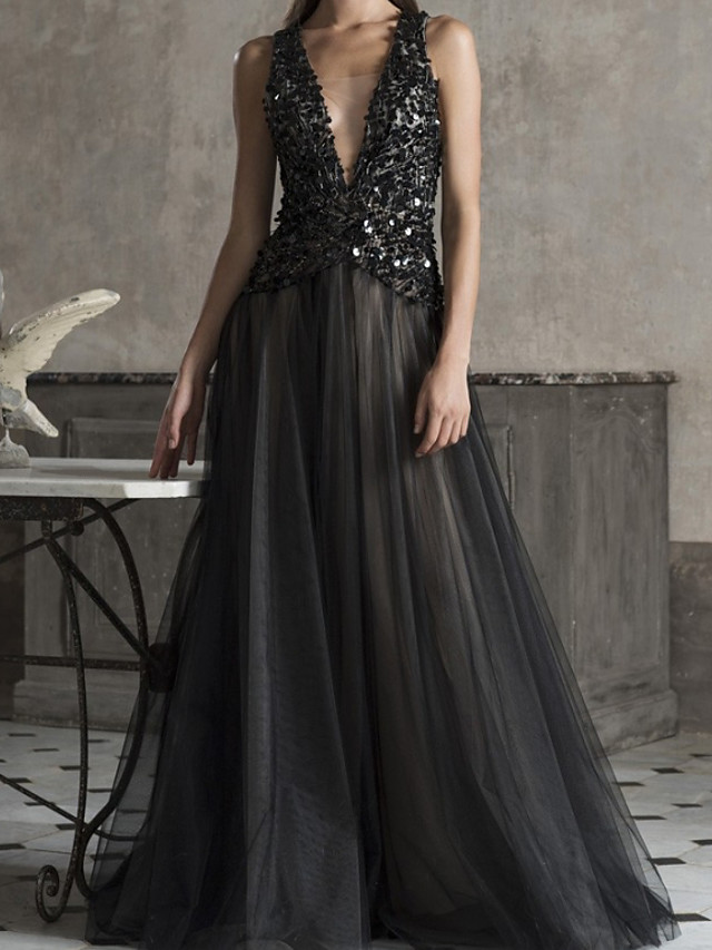 A-Line Sexy Sparkle Engagement Formal Evening Dress V Neck Sleeveless Sweep / Brush Train Tulle with Sequin 2020