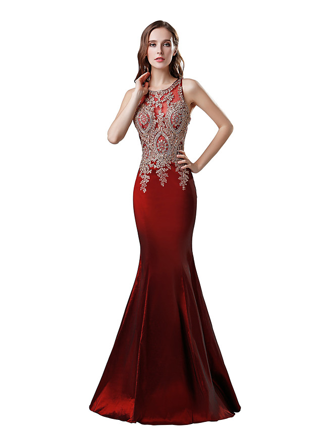 Mermaid / Trumpet Elegant Glittering Engagement Formal Evening Dress Jewel Neck Sleeveless Floor Length Taffeta with Crystals Appliques 2020