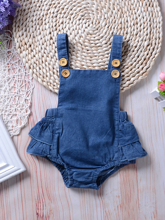 Baby Girls' Active Basic Blue Solid Colored Backless Sleeveless Romper Blue
