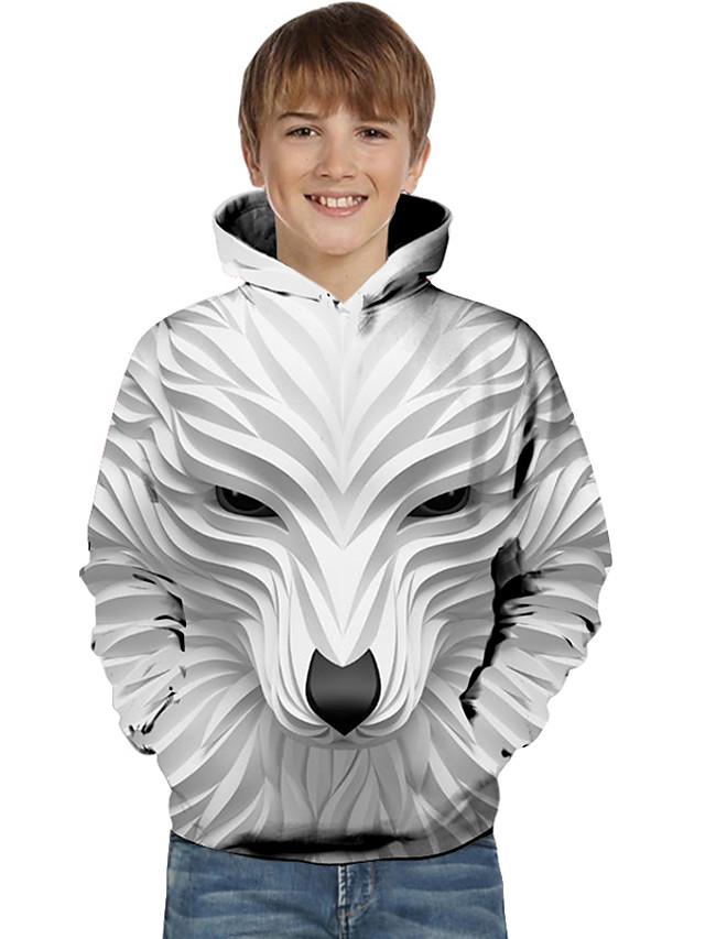 Kids Toddler Boys' Active Basic Wolf Striped Geometric Animal Print Long Sleeve Hoodie & Sweatshirt White