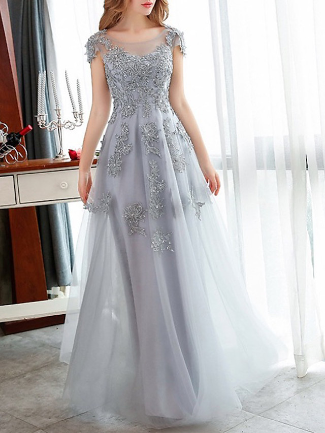 A-Line Elegant Floral Engagement Formal Evening Dress Illusion Neck Short Sleeve Floor Length Tulle with Crystals Appliques 2020