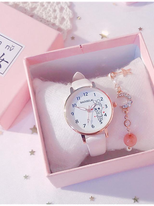 Kids Quartz Watches Quartz Modern Style Stylish Classic Chronograph PU Leather Black / White / Pink Analog - White Black Blushing Pink
