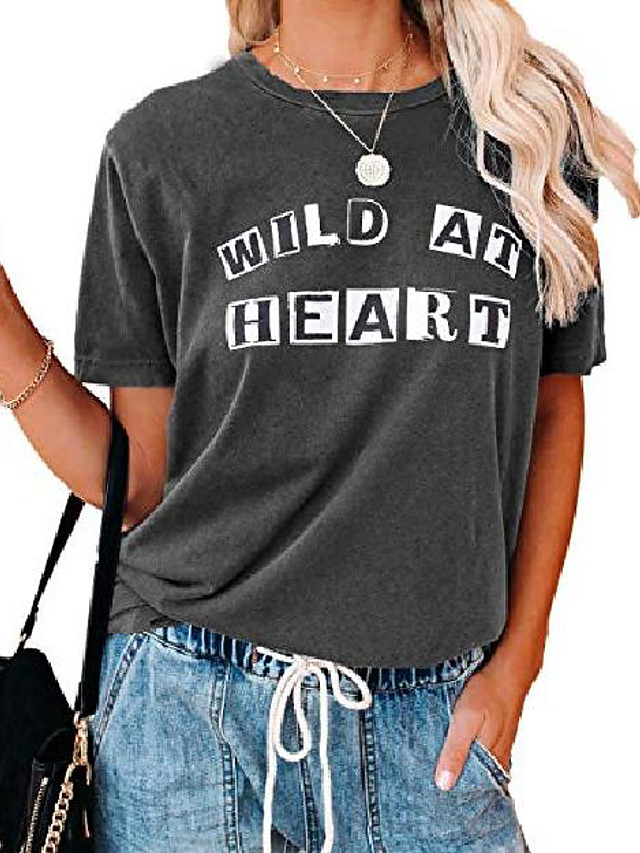 womens shirts basic loose ladies short sleeve crewneck letter printed graphic tee shirts blouses and tops dark grey s