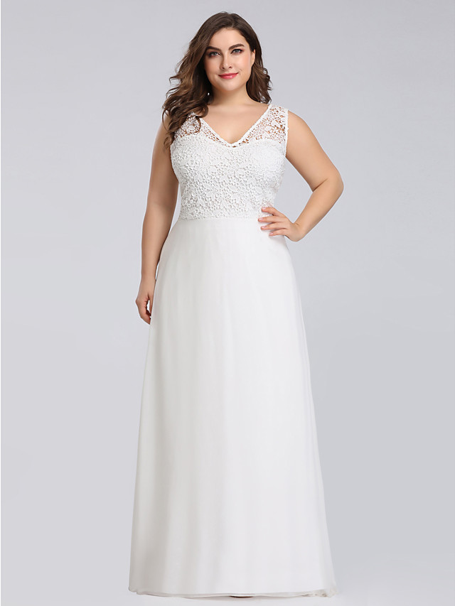 A-Line Plus Size White Engagement Formal Evening Dress V Neck Sleeveless Floor Length Lace Polyester with Lace Insert Appliques 2020