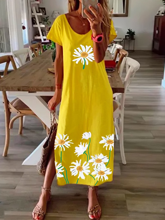 Women's Shift Dress Maxi long Dress - Short Sleeve Daisy Floral Print Summer Casual Vacation Loose 2020 Black Blue Yellow Gray S M L XL XXL XXXL