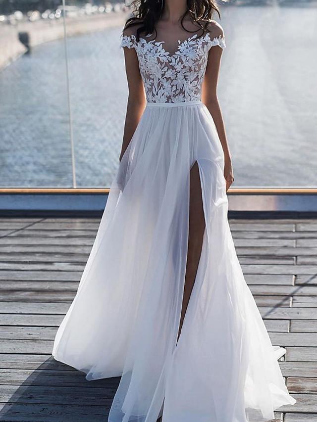 A-Line Wedding Dresses V Neck Floor Length Chiffon Lace Sleeveless Beach with 2021