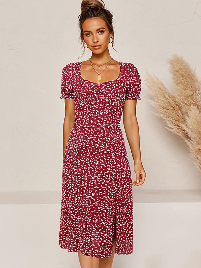 Mulheres Sheath Dress Vestidos Midi - Manga Curta Floral Fenda Verão Decote Canoa Casual 2020 Vermelho S M L XL