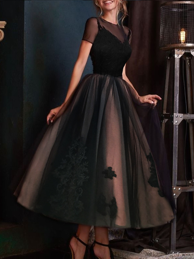 Ball Gown Elegant Vintage Engagement Formal Evening Dress Illusion Neck Short Sleeve Ankle Length Lace Tulle with Pleats Embroidery 2021